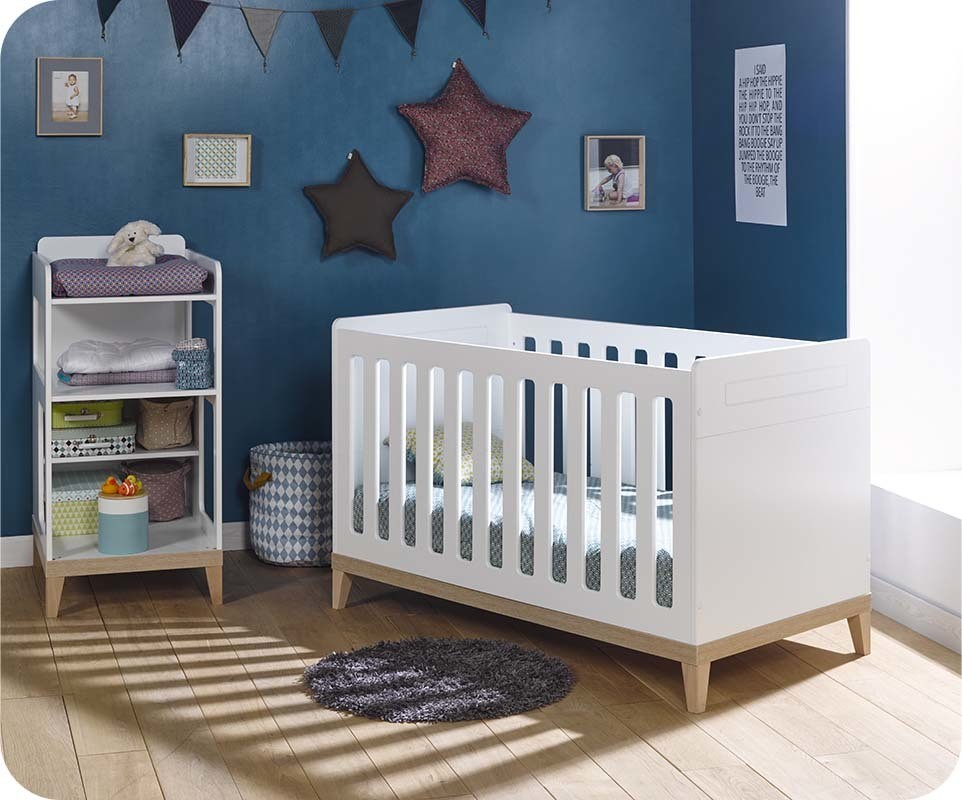 Lit b b volutif riga blanc et bois avec table langer - Lit bebe table a langer integree ...