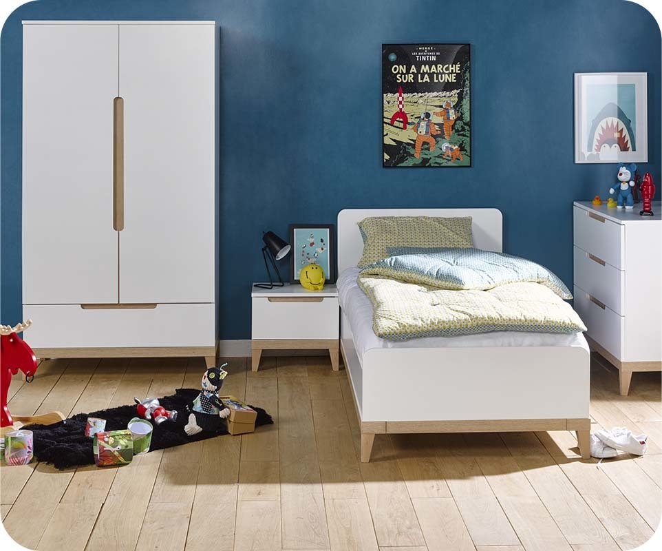 chambre enfant riga blanche et bois set de 4 meubles. Black Bedroom Furniture Sets. Home Design Ideas