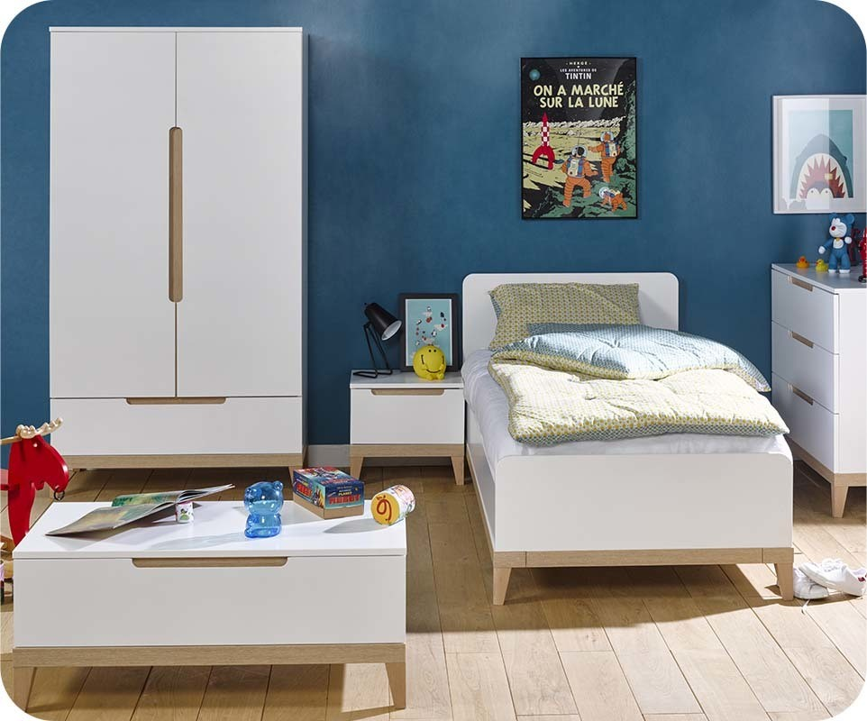 chambre enfant riga blanche et bois set de 5 meubles. Black Bedroom Furniture Sets. Home Design Ideas