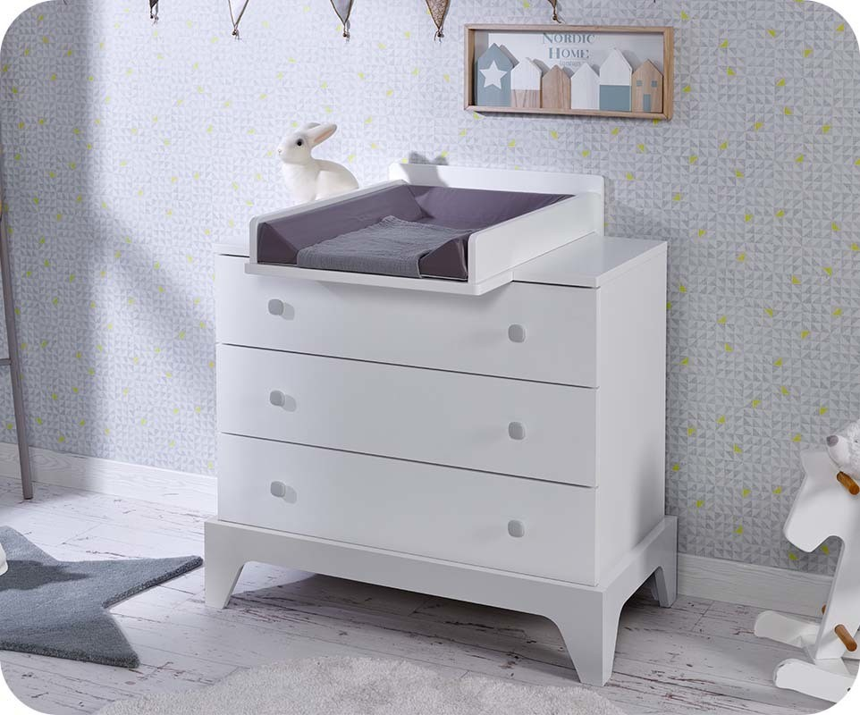 commode b b moon blanche et gris clair chambre et mobilier ecologique. Black Bedroom Furniture Sets. Home Design Ideas