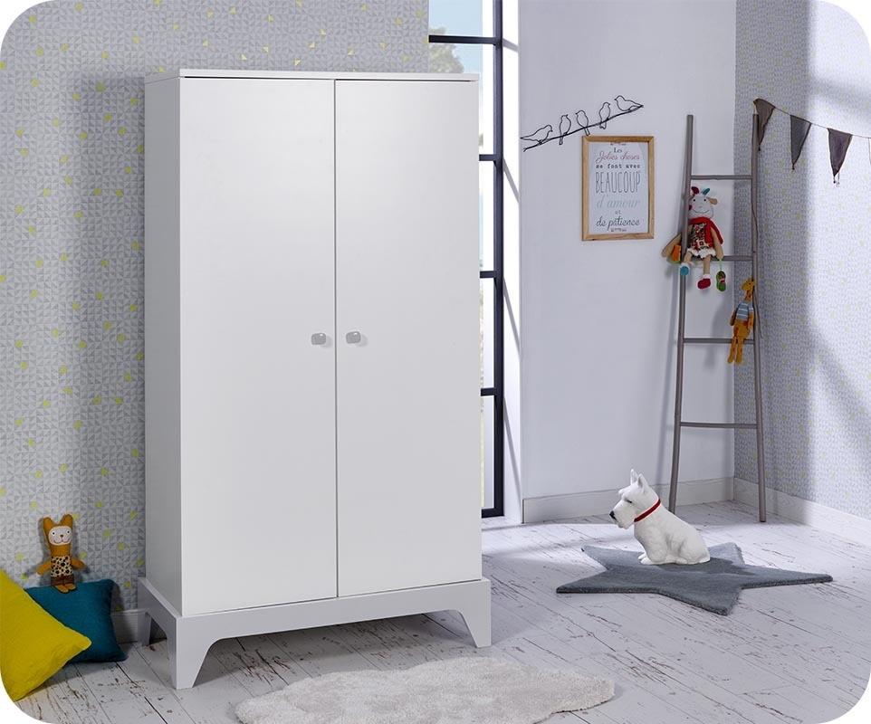 armoire b b moon blanche et gris clair chambre et mobilier pour enfant. Black Bedroom Furniture Sets. Home Design Ideas