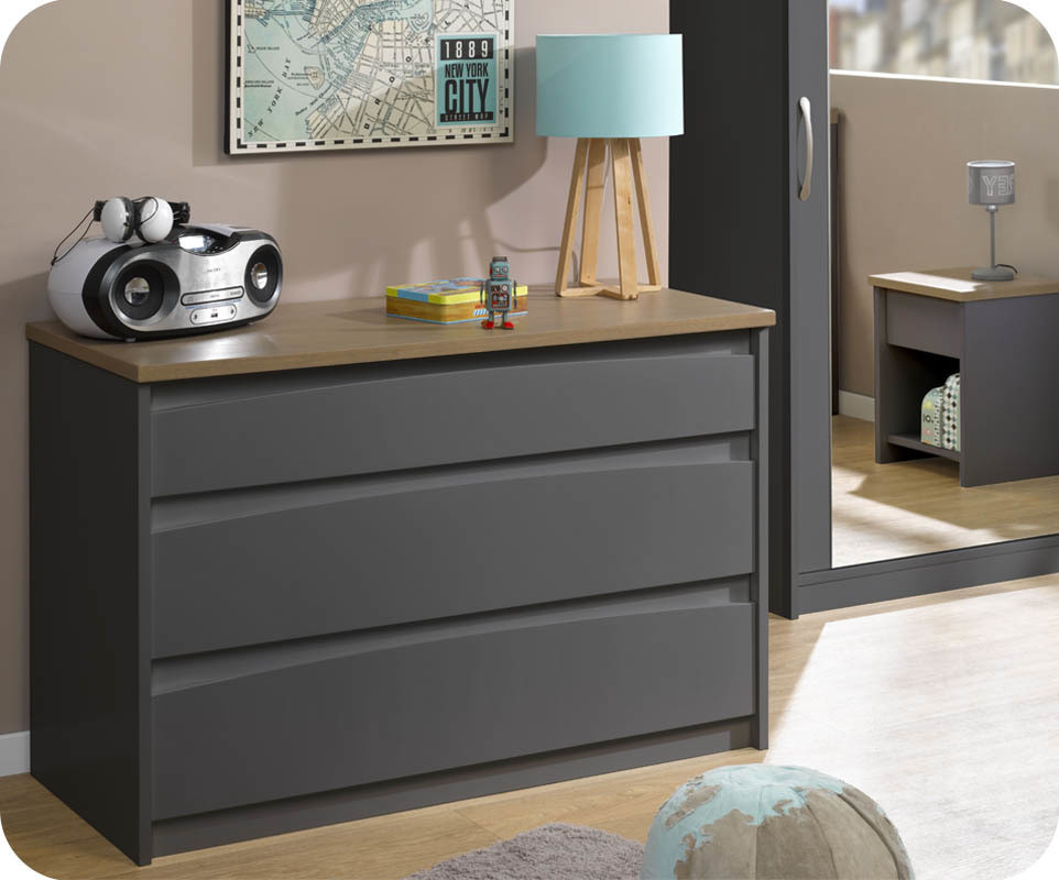 achat vente commode enfant island gris anthracite. Black Bedroom Furniture Sets. Home Design Ideas