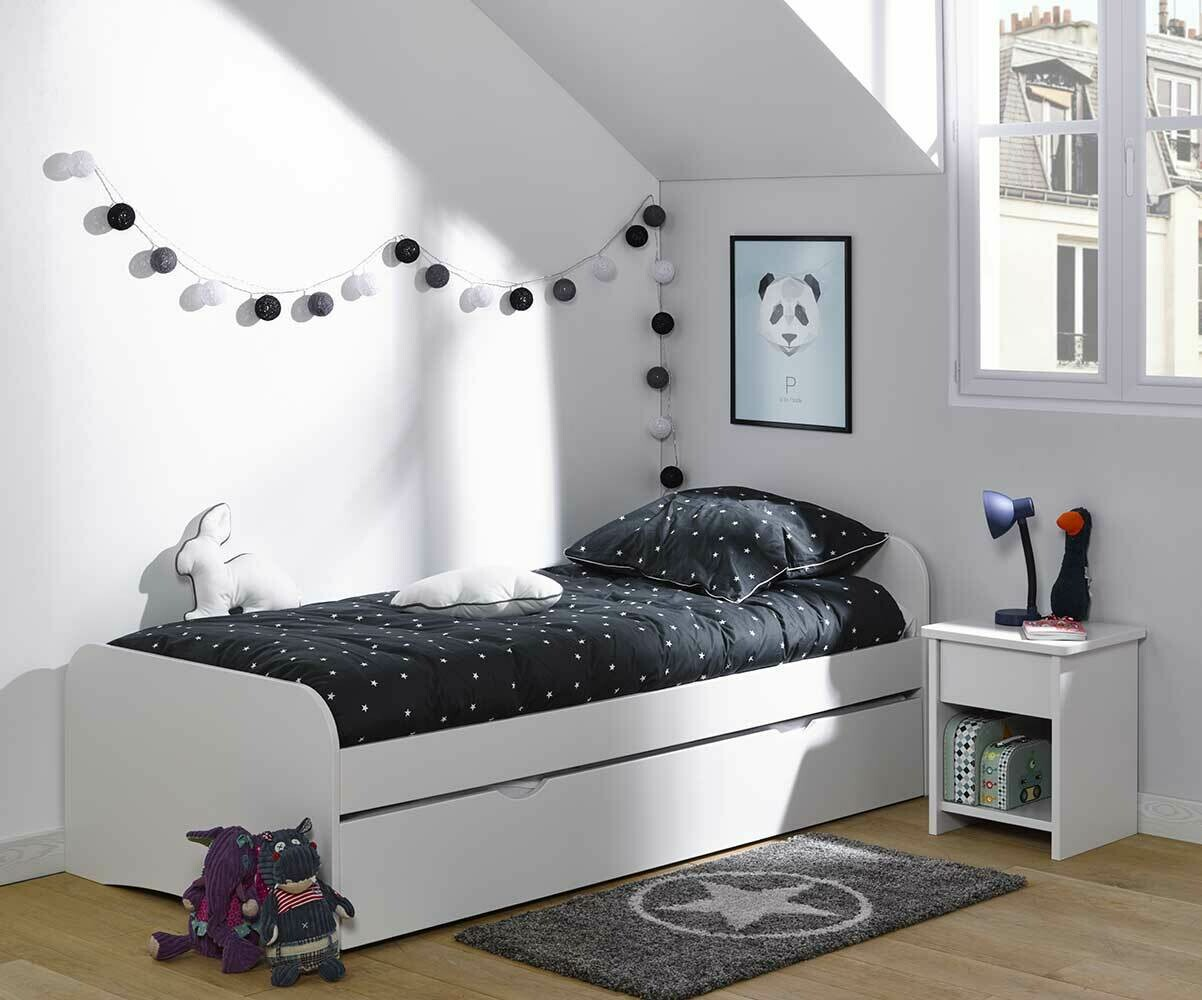 lit enfant gigogne twist blanc 90x190 cm. Black Bedroom Furniture Sets. Home Design Ideas