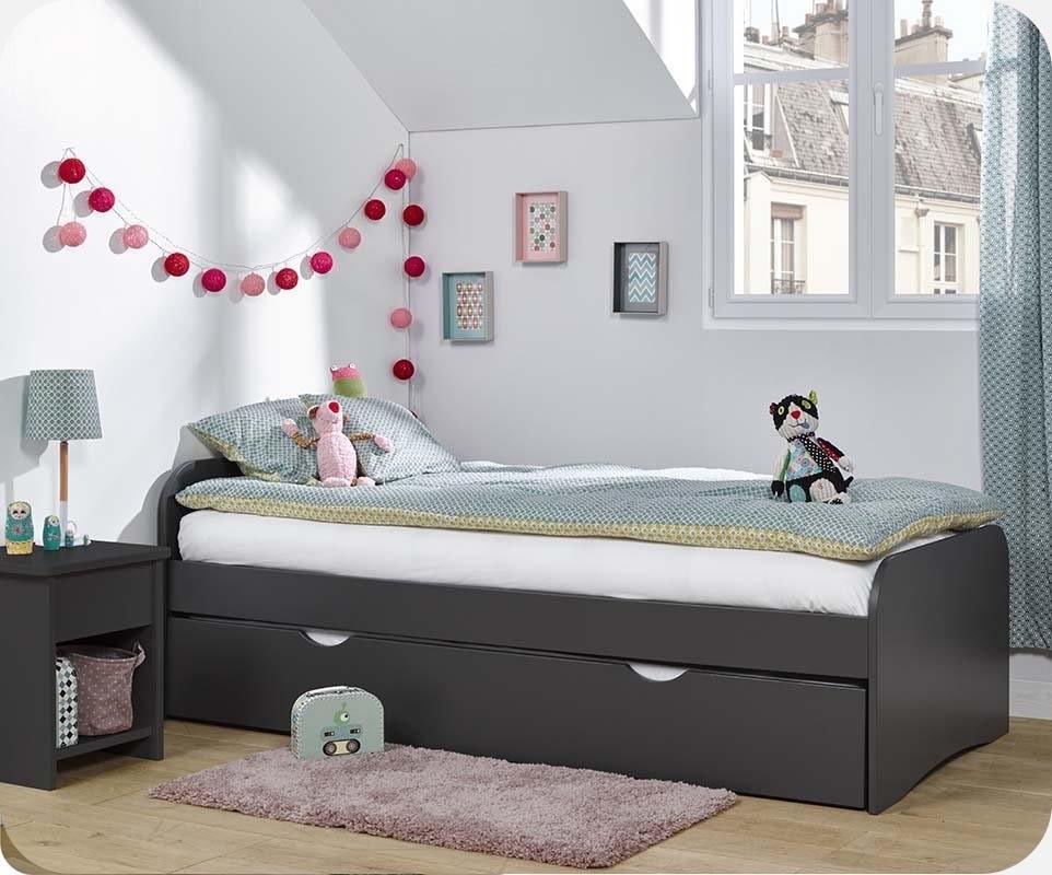 pack lit enfant gigogne twist gris anthracite 90x190 cm avec 2 matelas. Black Bedroom Furniture Sets. Home Design Ideas