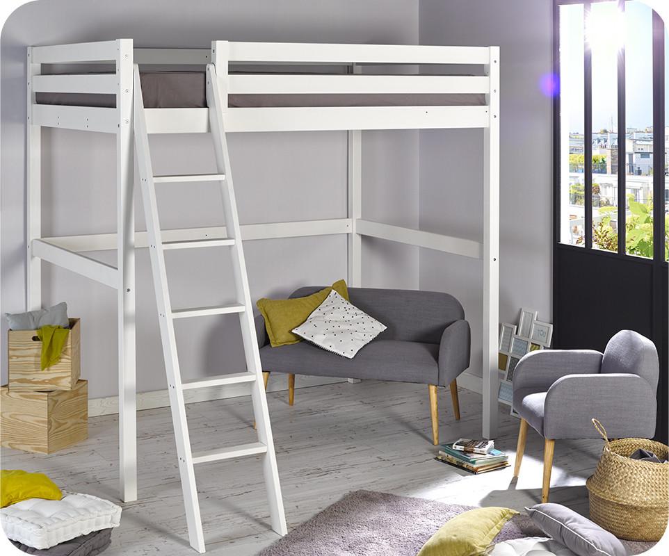 Lit enfant mezzanine cargo blanc 140x200 cm - Plan lit mezzanine 2 places ...