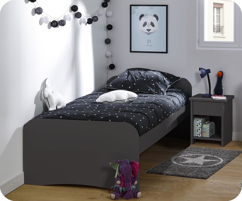 Lit enfant twist gris anthracite 90x190 cm - Lit enfant ajustable ...