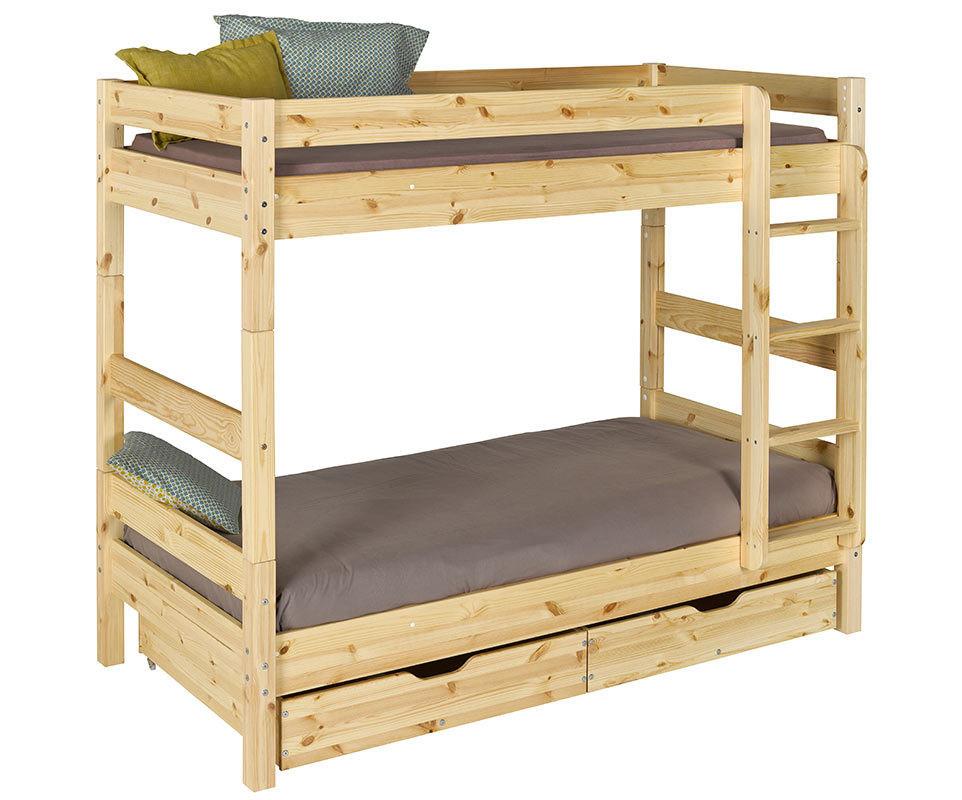 lit enfant superpos wood brut peindre 90x190 cm. Black Bedroom Furniture Sets. Home Design Ideas