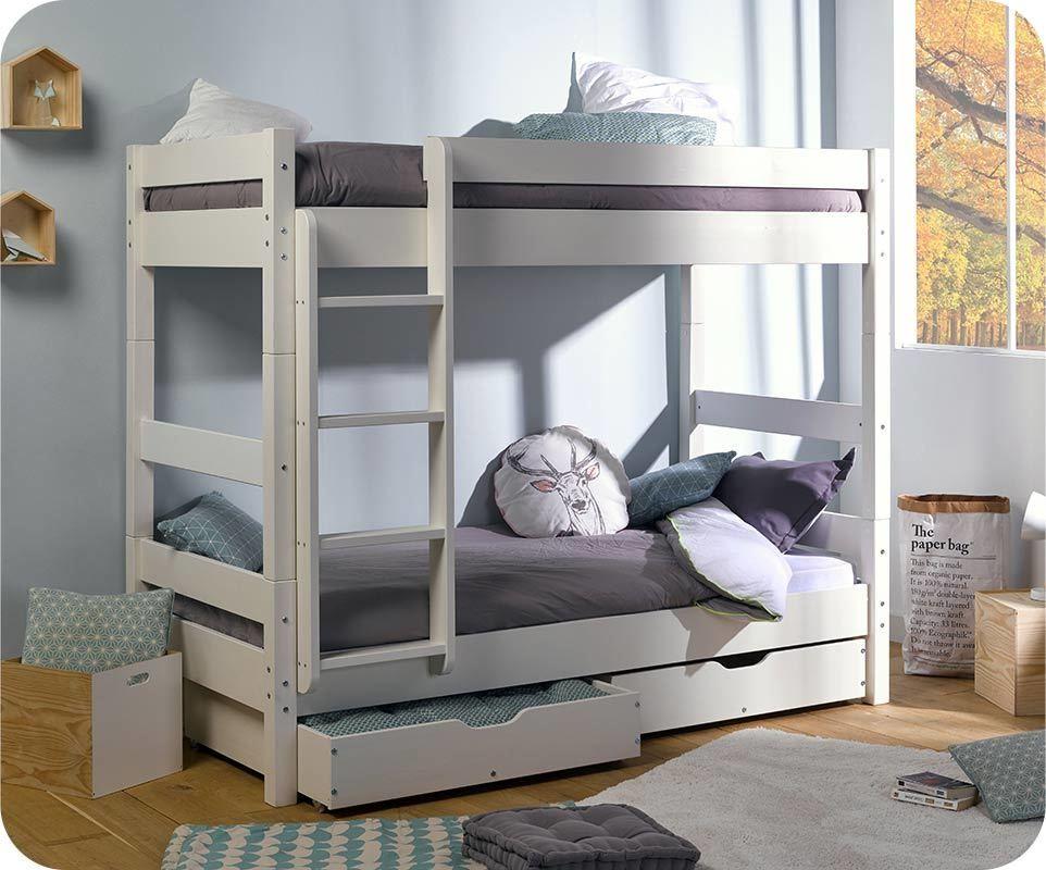 Pack lit enfant superpos wood blanc 90x190 cm avec 2 matelas - Lit superpose avec matelas ...