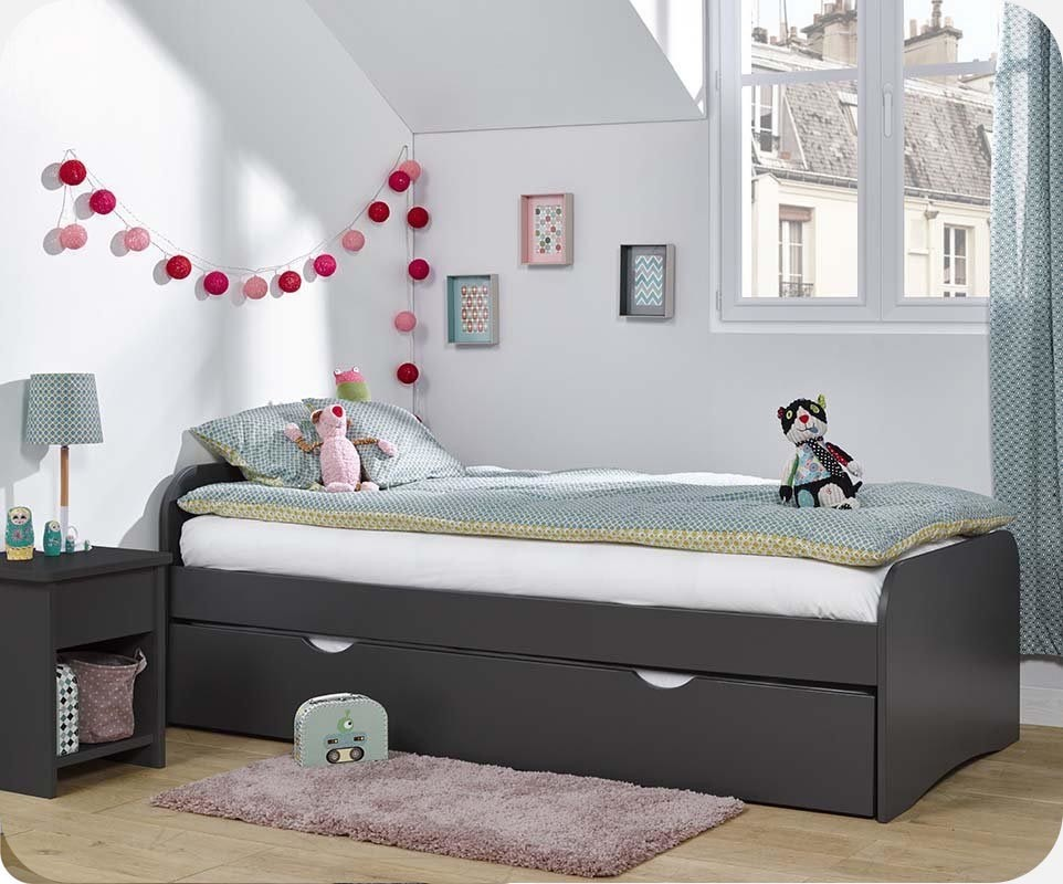 pack lit enfant gigogne twist gris anthracite 90x200 cm avec 2 matelas. Black Bedroom Furniture Sets. Home Design Ideas