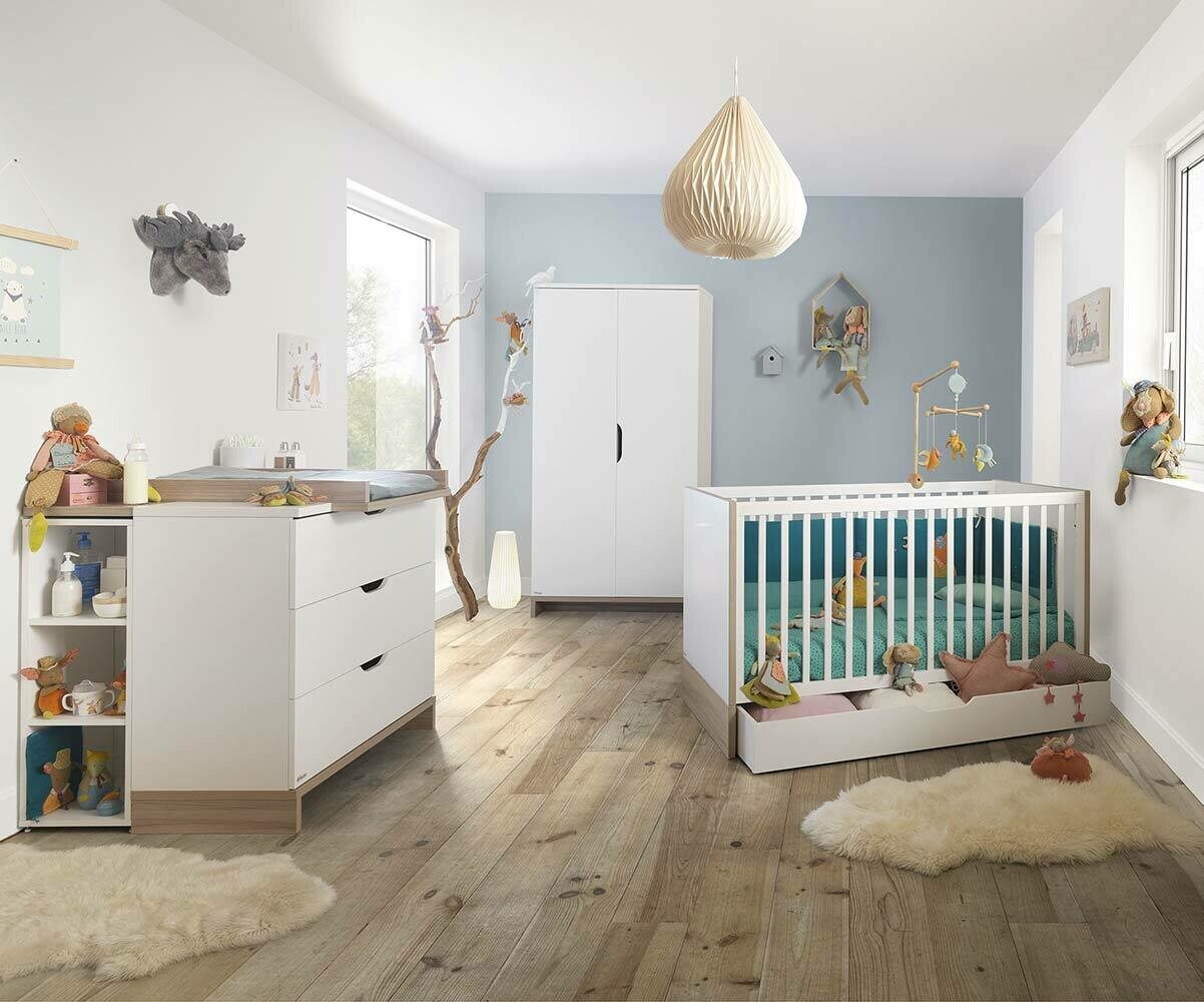Chambre b b compl te plume blanche et bois for Chambre bebe complete