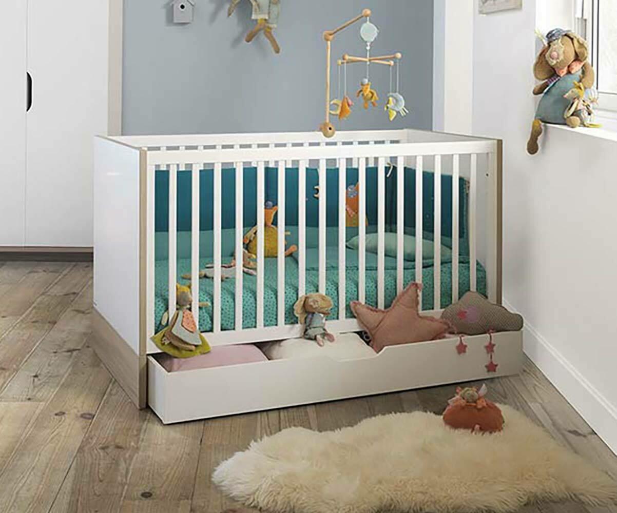 lit b b volutif plume blanc et bois avec matelas. Black Bedroom Furniture Sets. Home Design Ideas