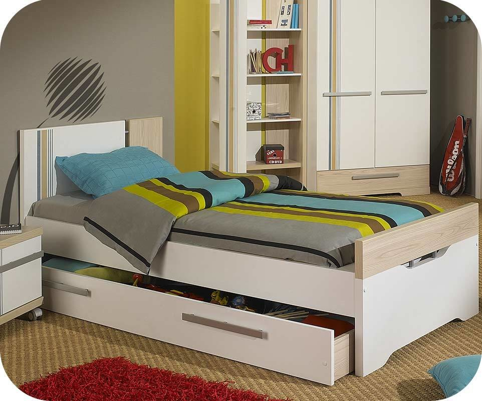 lit enfant bora blanc et bois 90x200 cm. Black Bedroom Furniture Sets. Home Design Ideas