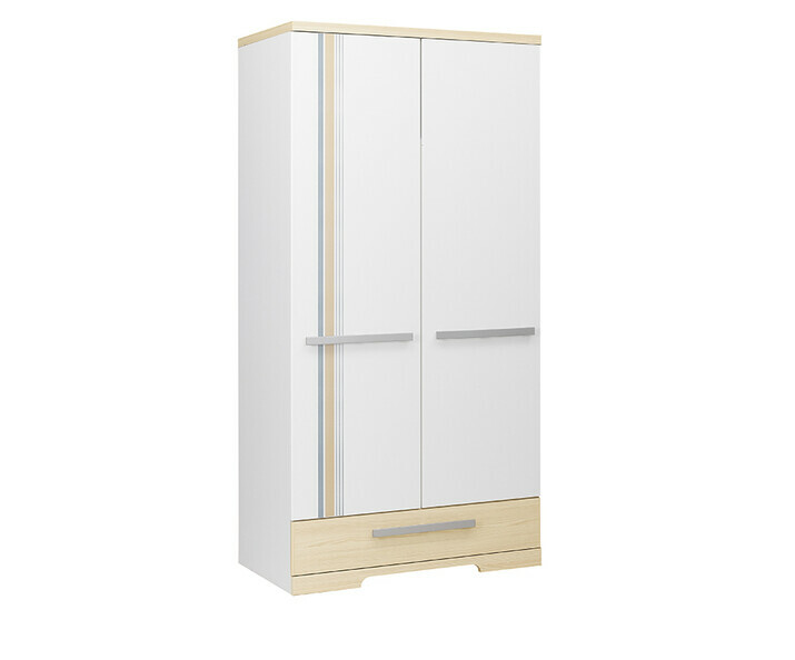 armoire enfant 2 portes bora blanche et bois. Black Bedroom Furniture Sets. Home Design Ideas