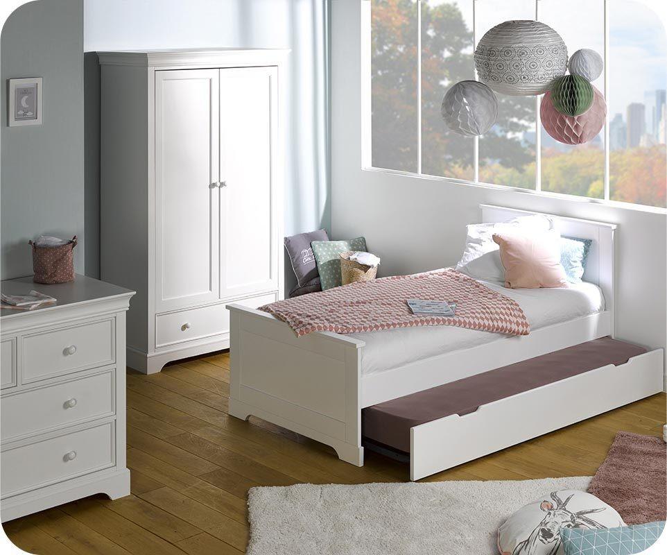 lit enfant gigogne mel blanc 90x200 cm. Black Bedroom Furniture Sets. Home Design Ideas