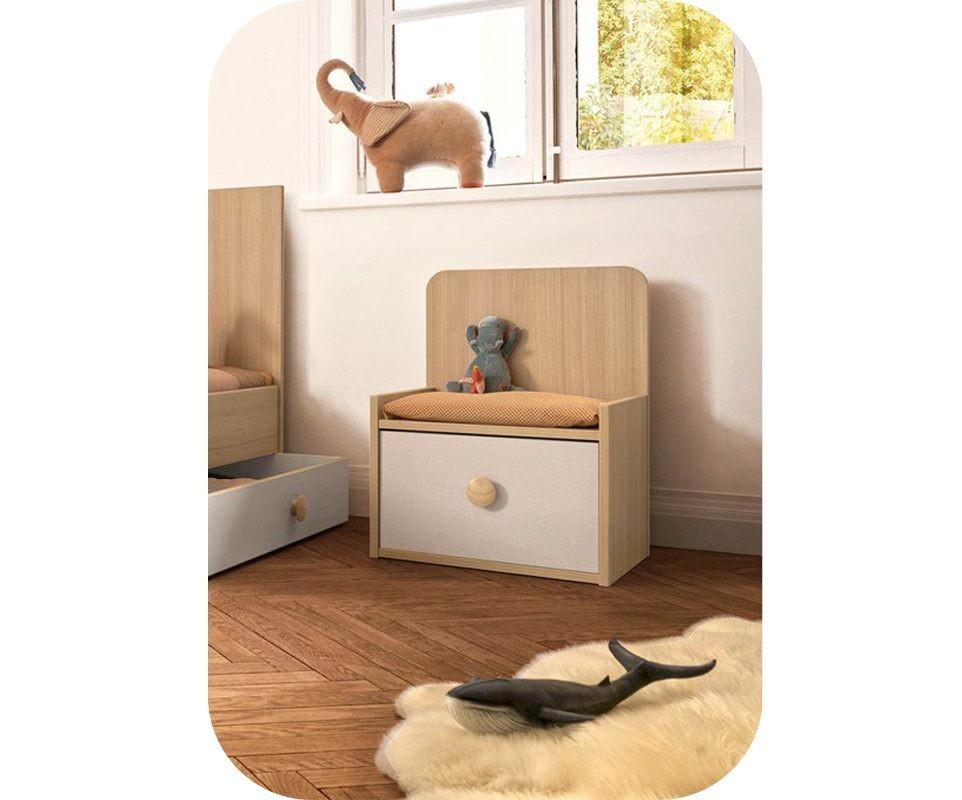 banc coffre ol blanc et bois. Black Bedroom Furniture Sets. Home Design Ideas