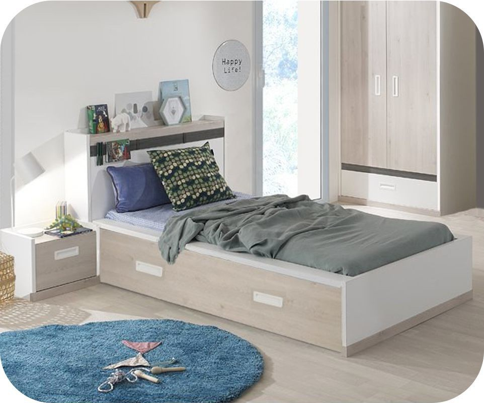 lit enfant il o blanc et bois 90x200 cm. Black Bedroom Furniture Sets. Home Design Ideas