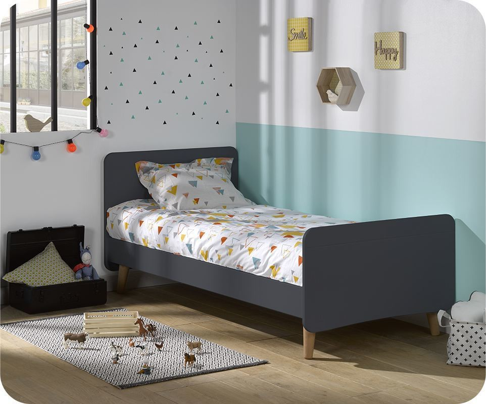 lit enfant willow gris anthracite 90x190 cm avec pieds. Black Bedroom Furniture Sets. Home Design Ideas