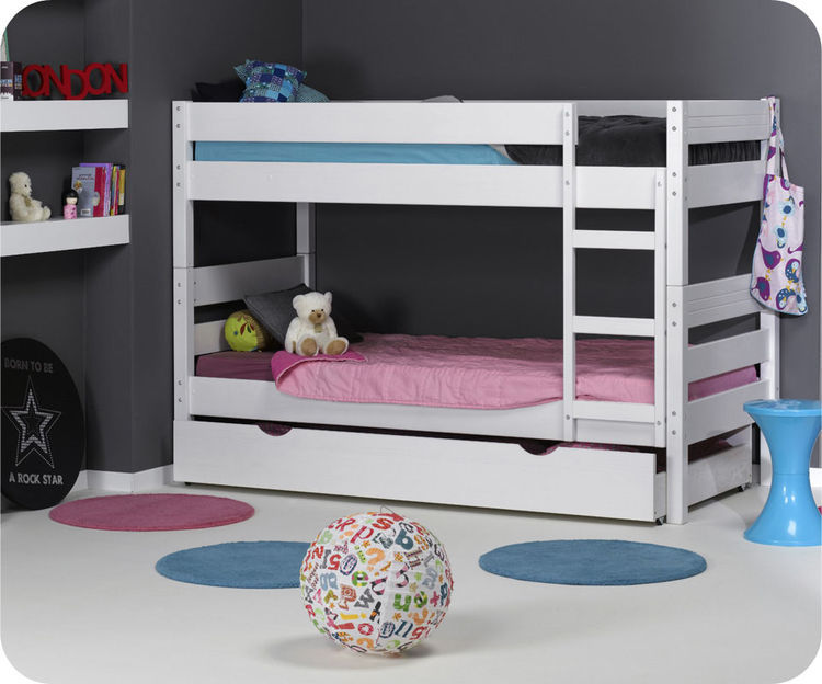 d couvrez le lit superpos enfant en bois 1 2 3 blanc. Black Bedroom Furniture Sets. Home Design Ideas
