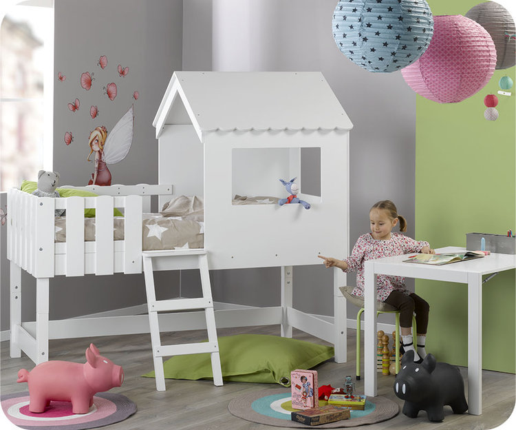 d couvrez le lit enfant cabane swam blanc mobilier cologique. Black Bedroom Furniture Sets. Home Design Ideas