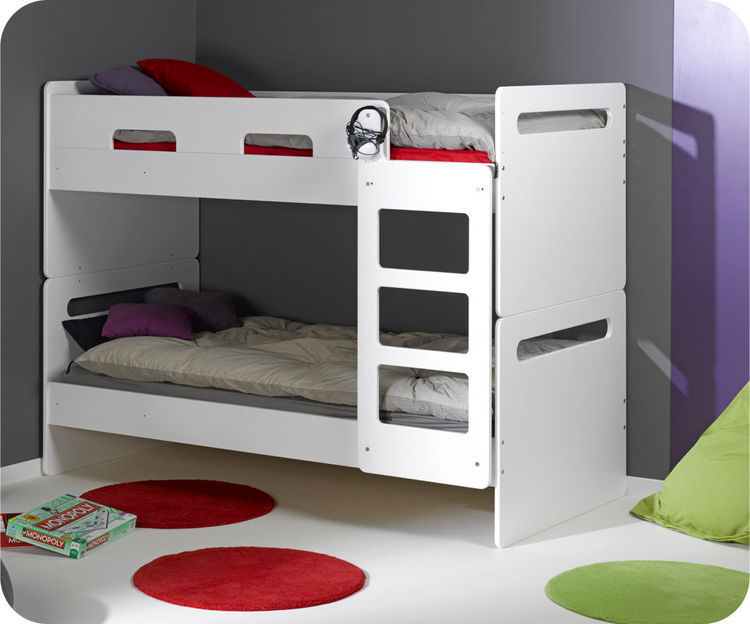 Lit enfant superpos eden blanc mobilier cologique made in france - Lit superpose securise ...
