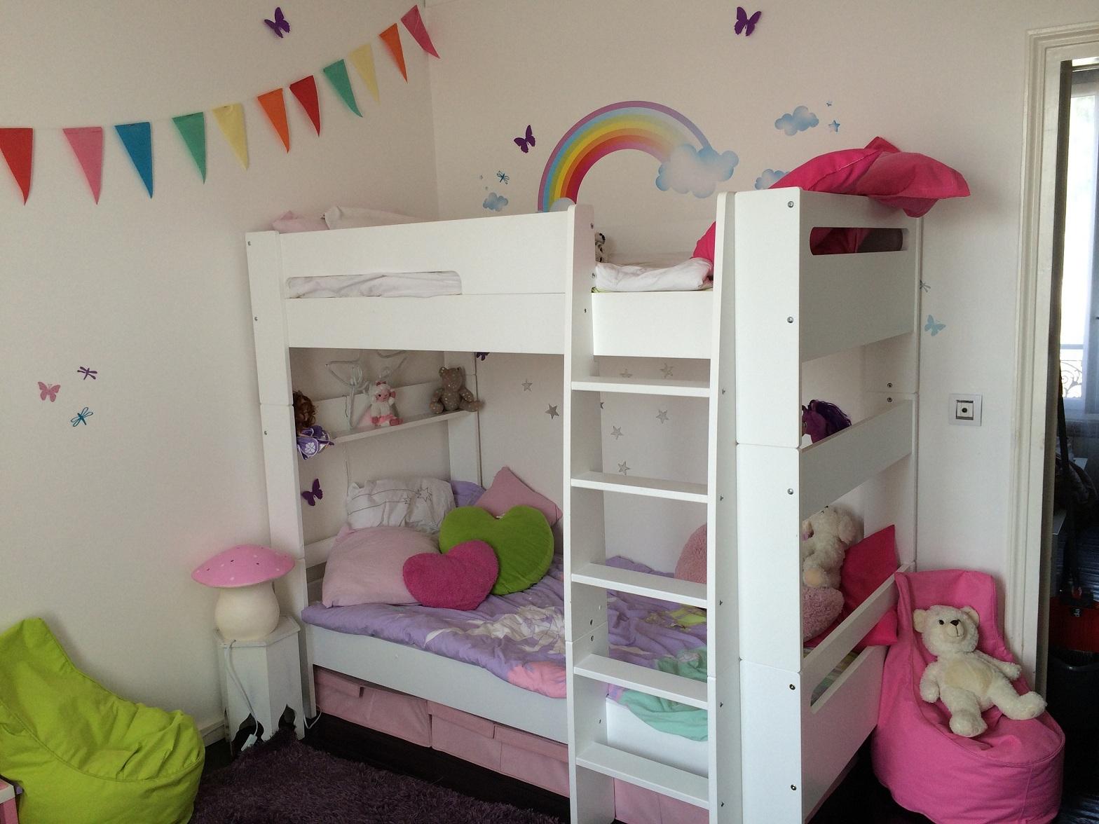 Beautiful Chambre Fille Avec Lit Superpose #10: Lit Mezzanine Wax Blanche Lit Enfant Superosé Wax Blanc