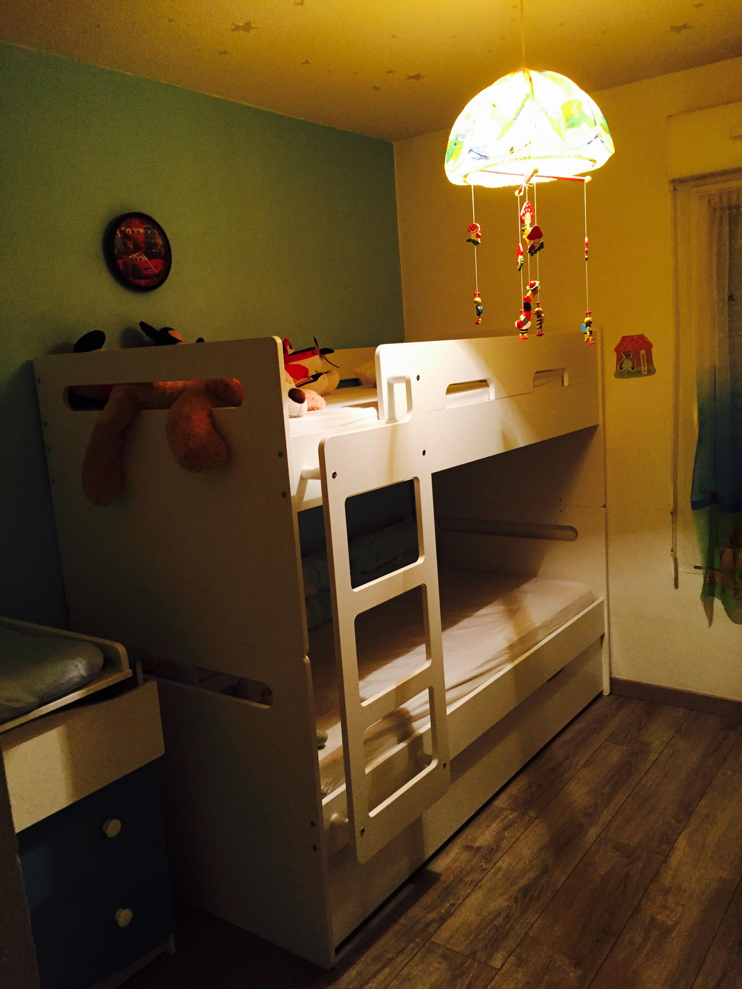 Le lit superpos eden blanc modulable pour filles et gar ons - Securite pour lit superpose ...