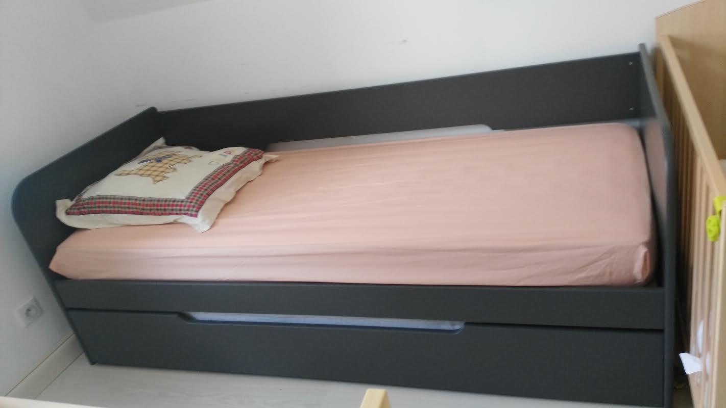 Pack Lit Gigogne Bali Gris Anthracite 80x200 cm avec 2 Matelas