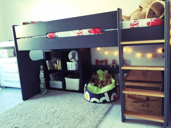 lit enfant mi hauteur spark gris et h tre naturel 90x200. Black Bedroom Furniture Sets. Home Design Ideas