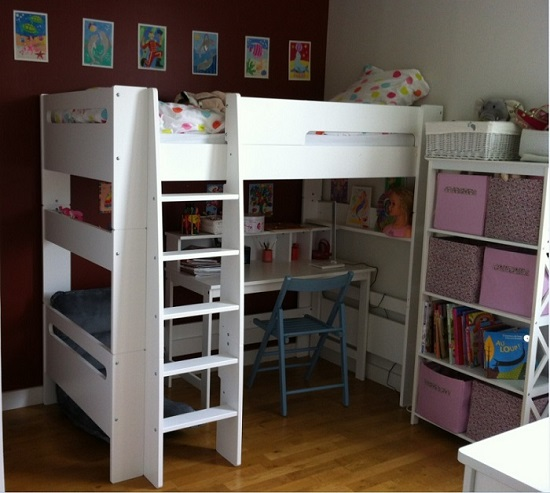 lit mezzanine enfant wax blanc 90x190 cm. Black Bedroom Furniture Sets. Home Design Ideas