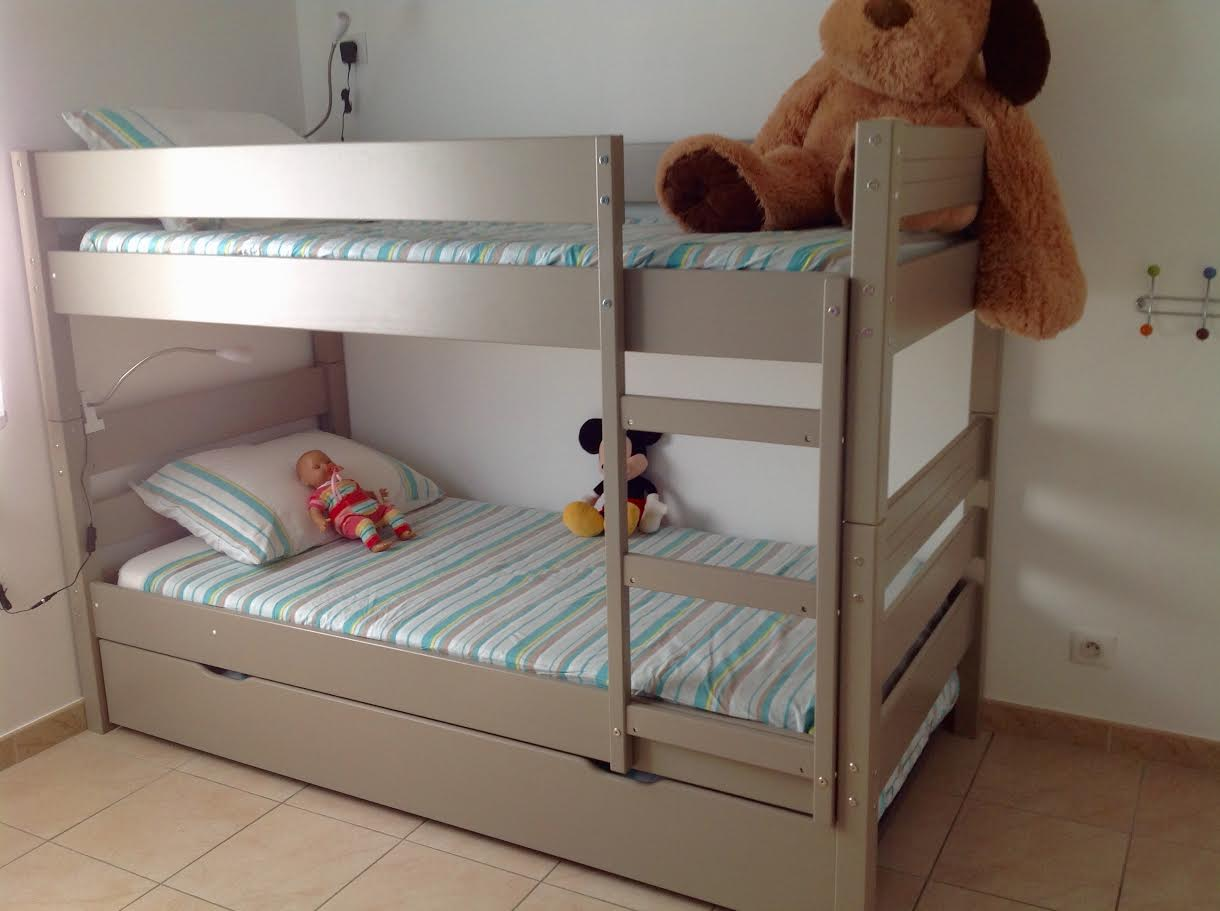 lit superpos enfant 1 2 3 lin 90x190 cm avec sommier gigogne. Black Bedroom Furniture Sets. Home Design Ideas