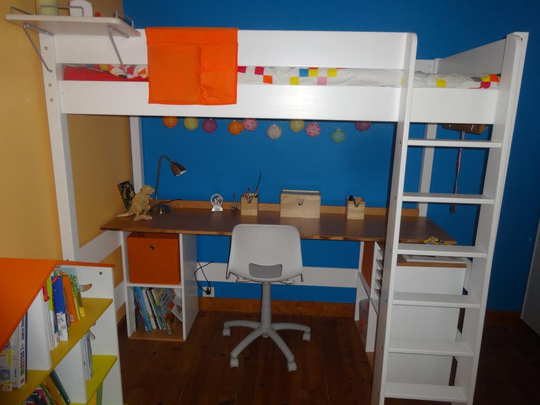 Lit Mezzanine Enfant Clay Blanc Achat Vente Mobilier Bois Massif