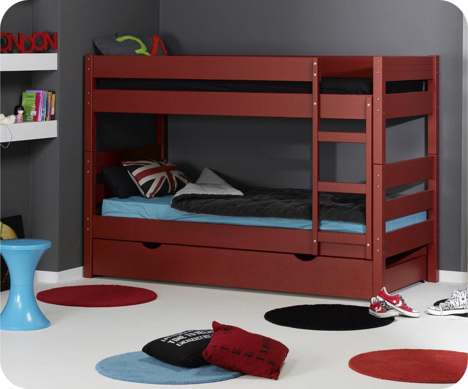 Pack lit superpos enfant 1 2 3 rouge 90x190 cm avec 2 matelas for Camas triples baratas
