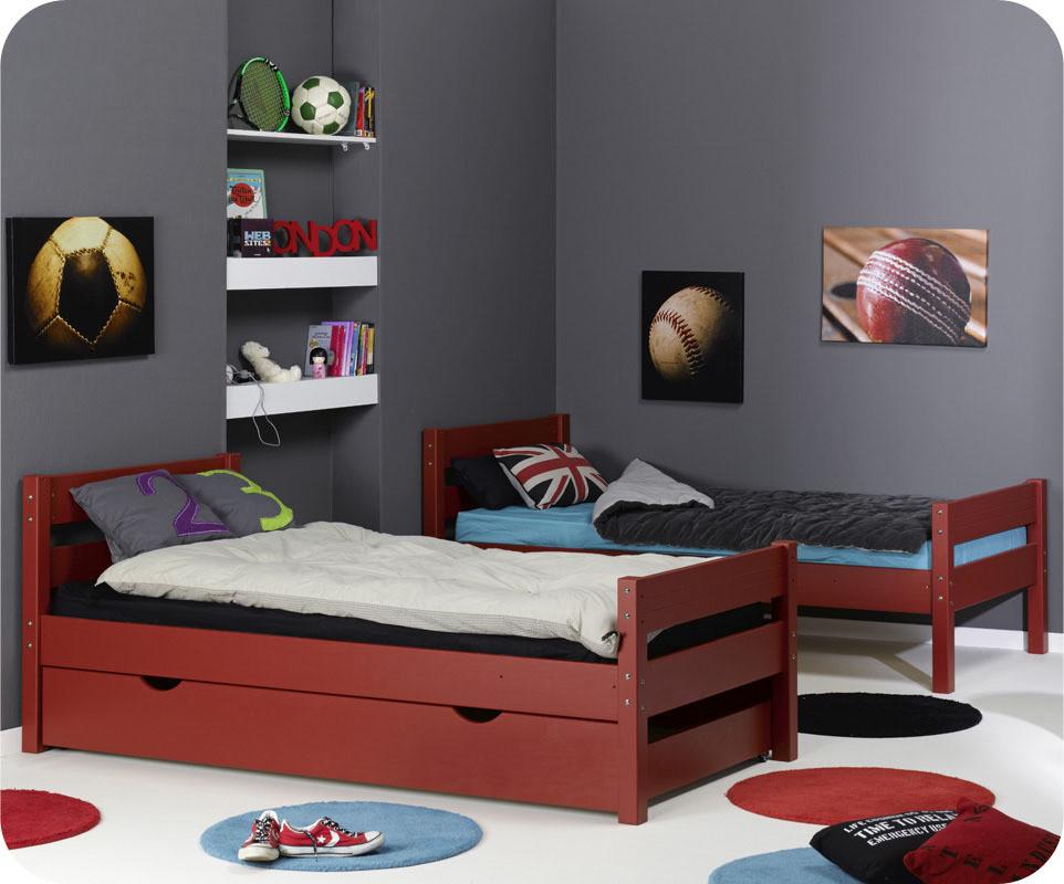 Lit enfant superpose 123 rouge 90x 190 cm for Tapis chambre ado avec matelas heveane dunlopillo avis