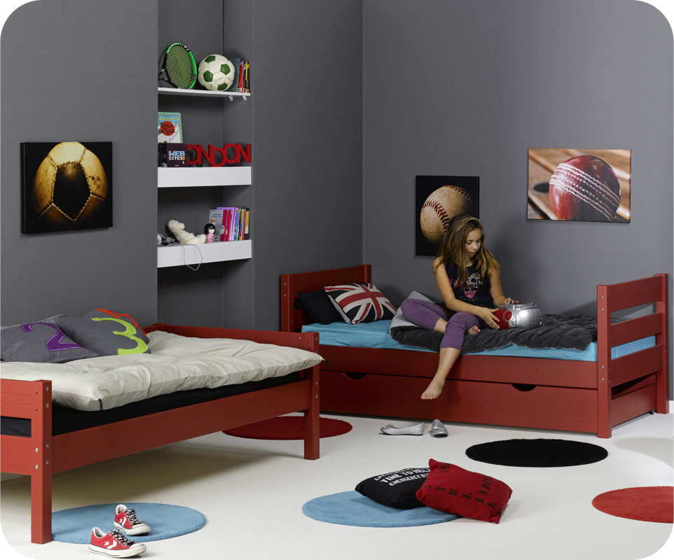 Lit enfant superpos 1 2 3 rouge 90x 190 cm - Lit enfant 1 place ...