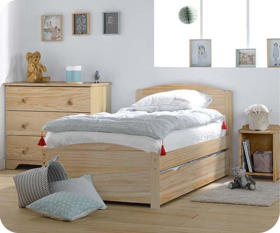 Pack lit enfant nature brut 90x190 cm avec sommier et matelas for Deco chambre enfant avec achat matelas latex 90x190