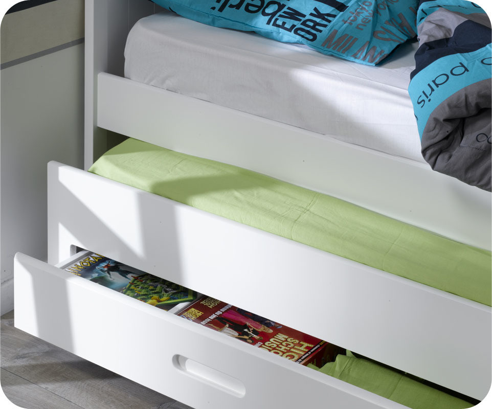 pack lit enfant gigogne swam blanc 90x200 cm avec 2 matelas. Black Bedroom Furniture Sets. Home Design Ideas