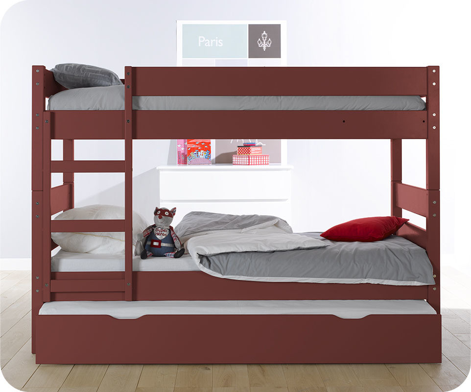 Lit superpos enfant 1 2 3 rouge 90x190 cm avec sommier for Barriere de lit superpose