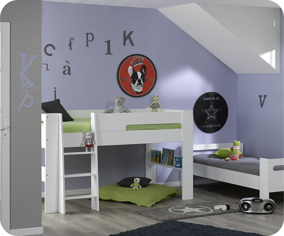 pack lit mezzanine enfant wax blanc. Black Bedroom Furniture Sets. Home Design Ideas