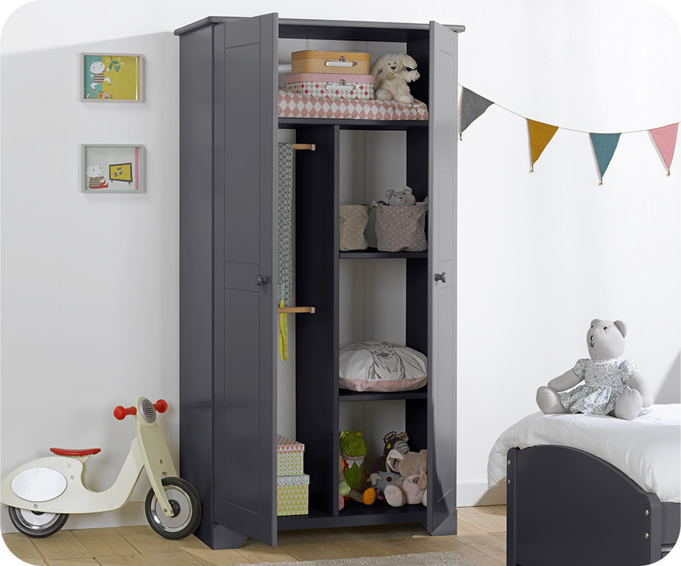 armoire enfant nature anthracite. Black Bedroom Furniture Sets. Home Design Ideas