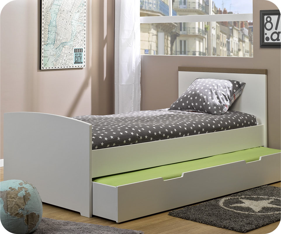 tiroir lit enfant island blanc 90x190 cm. Black Bedroom Furniture Sets. Home Design Ideas