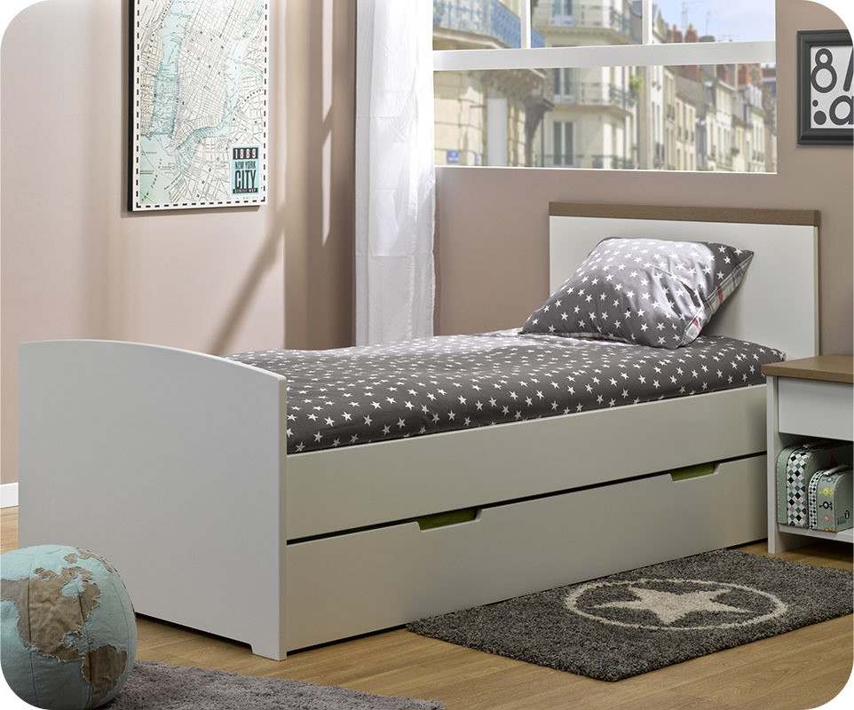pack lit enfant gigogne island blanc 90x190 cm avec 2 matelas. Black Bedroom Furniture Sets. Home Design Ideas
