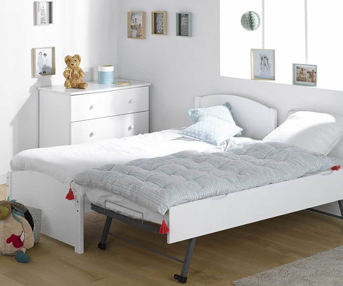 lit enfant gigogne nature blanc 90x190 cm avec 2 matelas. Black Bedroom Furniture Sets. Home Design Ideas