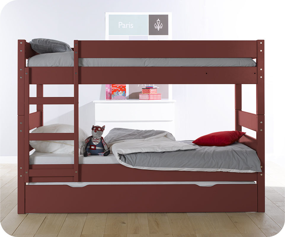 lit superpos kids rouge 90x190 cm achat vente mobilier bois massif. Black Bedroom Furniture Sets. Home Design Ideas