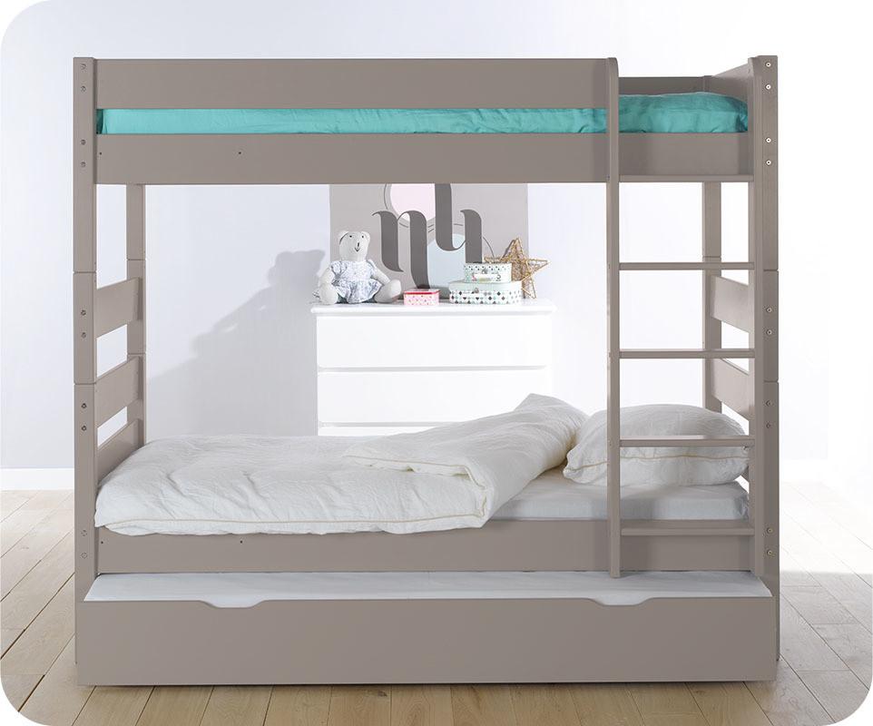 Pack lit superpos kids lin 90x190 cm avec 2 matelas - Lit superpose avec matelas ...