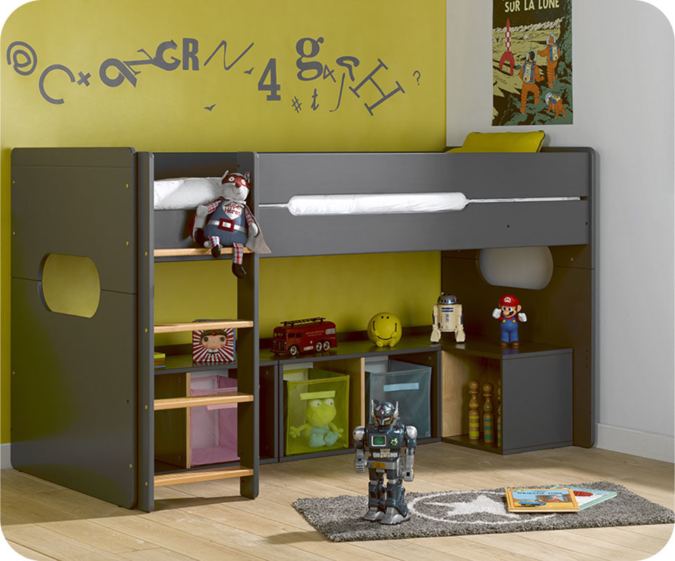 lit enfant mi hauteur spark gris anthracite et h tre naturel 90x200 cm. Black Bedroom Furniture Sets. Home Design Ideas
