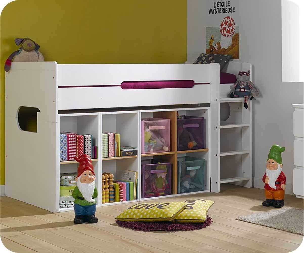 Pack Lit Enfant Mi-Hauteur Spark Blanc 90x200 cm avec Matelas