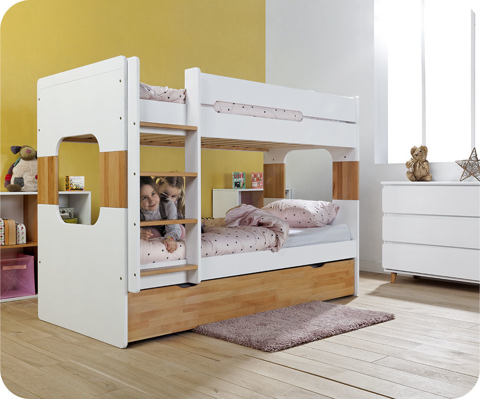 lit superpos enfant spark blanc et h tre naturel 90x200 cm. Black Bedroom Furniture Sets. Home Design Ideas