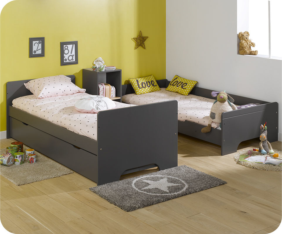 lit superpos enfant spark gris anthracite et h tre naturel 90x200 cm. Black Bedroom Furniture Sets. Home Design Ideas