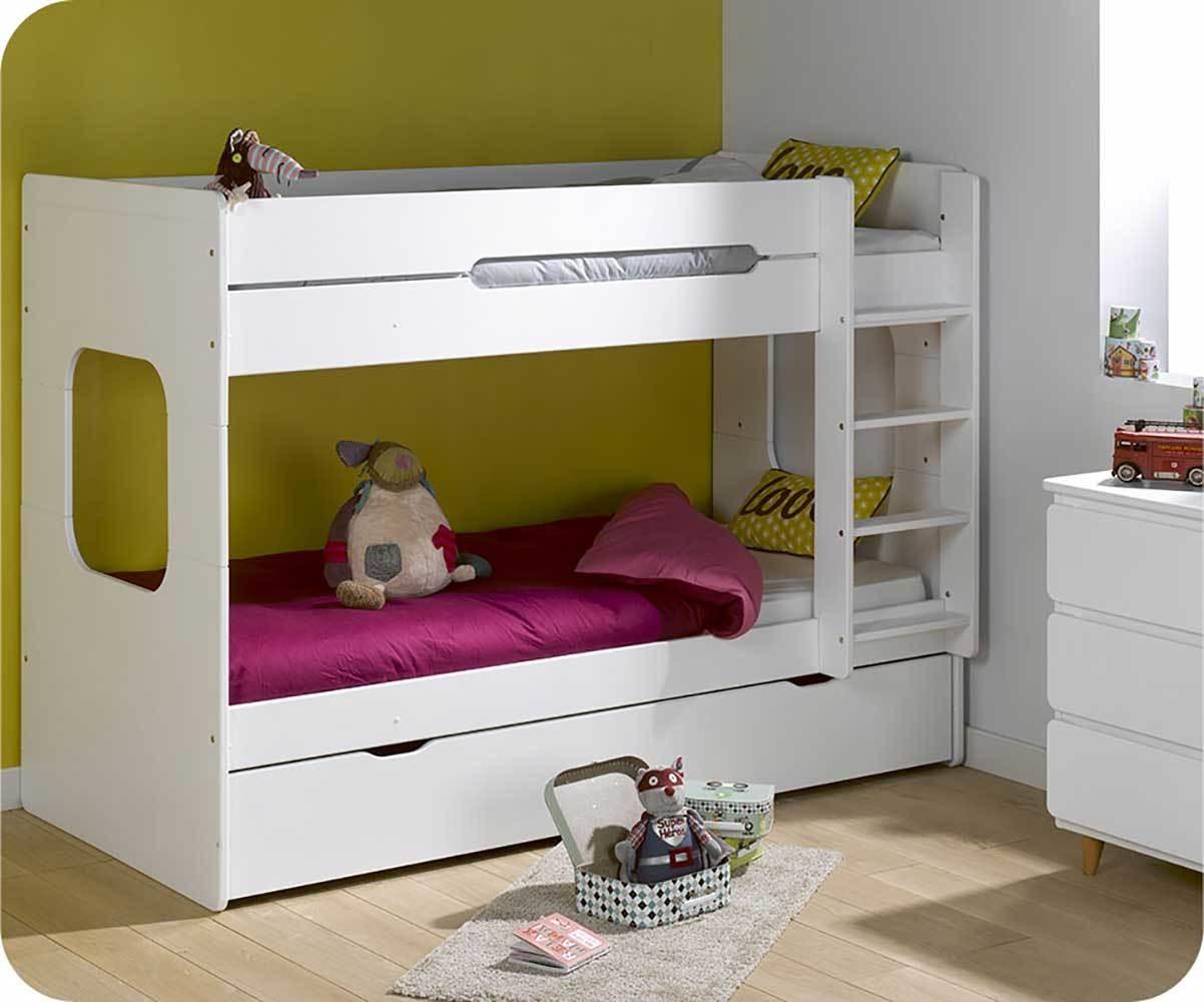 Lit Superposé Enfant Spark Blanc Et Hêtre 90x200 Cm Avec 2 Matelas