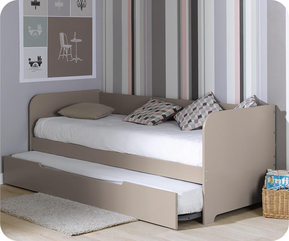 Lit banquette gigogne bali lin 80x200 cm for Modelos de sillon cama